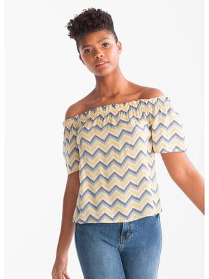 Блуза бежевая в полоску | 5521403