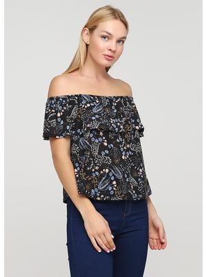Блуза черная в принт | 5549202