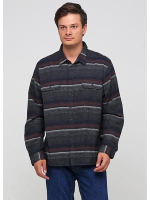 Рубашка темно-серая в полоску   5549206