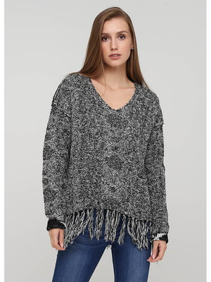 Пуловер сірий в принт | 5549326