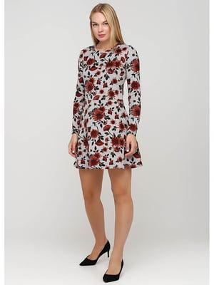 Сукня сіра з квітковим принтом | 5549582