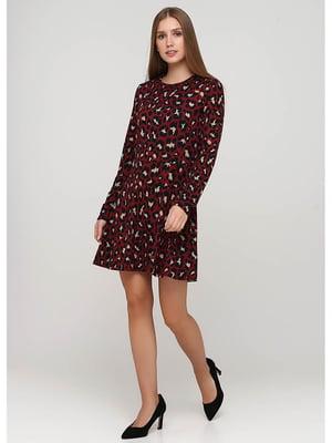 Сукня бордова в принт | 5549678