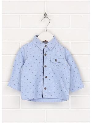 Рубашка голубого цвета в принт | 5559890