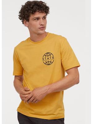 Футболка жовта з принтом | 5573150