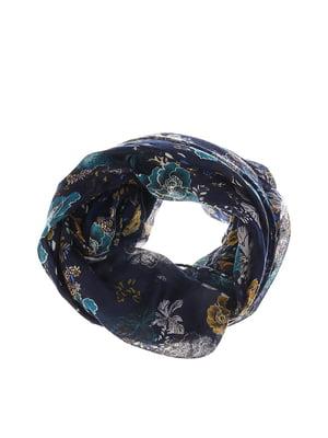 Шарф темно-синий с цветочным принтом   5581017
