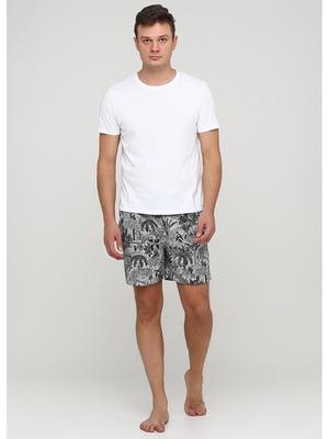 Шорты пижамные серые с принтом   5587297
