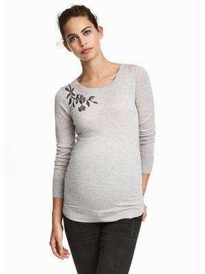 Лонгслів для вагітних сірий з вишивкою | 5592665