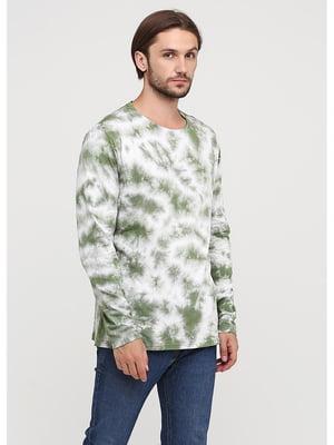 Лонгслив бело-зеленый | 5593122