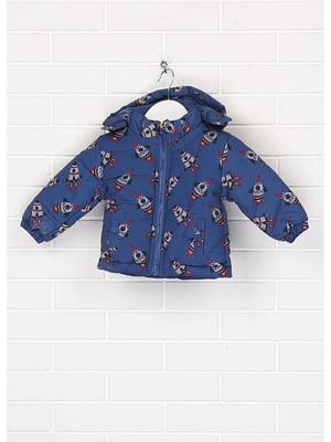 Куртка синя з принтом | 5597422