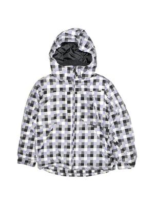 Куртка лыжная серая в принт | 5598127