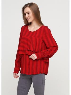 Блуза красная в полоску | 5600874