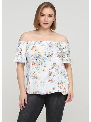 Блуза белая с цветочным принтм | 5600899