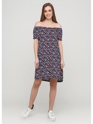 Платье синее с цветочным принтом | 5600915