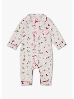 Человечек пижамный белый в принт | 5637402