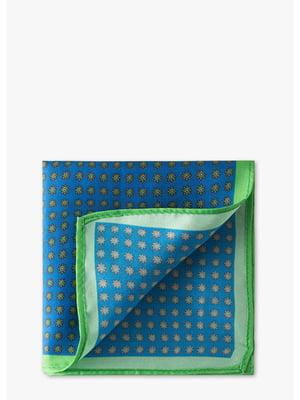 Платок нагрудный синий с принтом | 5638665