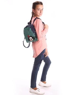 Рюкзак синий с рисунком и в полоску | 5641188
