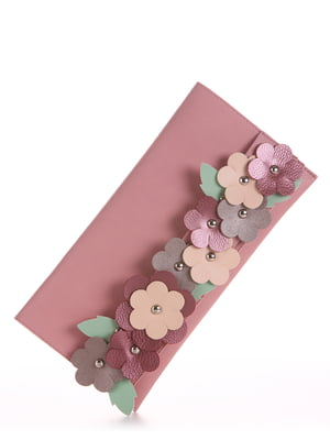 Клатч розовый с цветочной аппликацией | 5641246