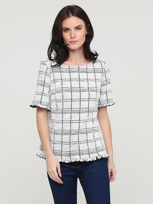 Блуза молочного цвета в клетку | 5641571