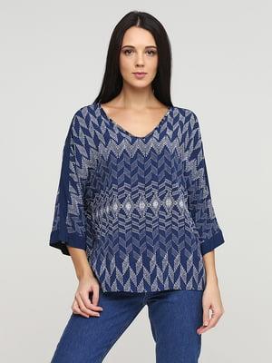 Блуза синя з візерунком   5641574