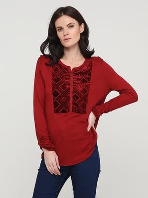 Блуза бордова з декором | 5641578