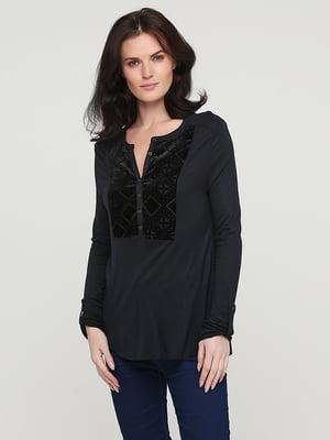 Блуза темно-синя з декором | 5641579
