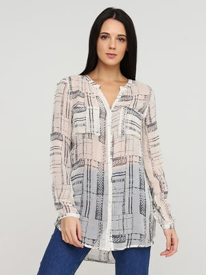 Блуза бежевая в принт | 5641584