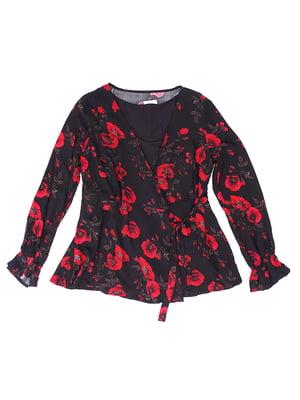 Блуза чорна в принт | 5641593