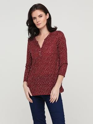 Блуза бордовая в горошек | 5641602