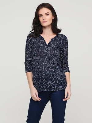 Блуза темно-синяя в горошек | 5641603