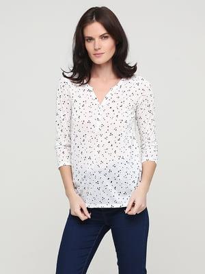 Блуза белая в принт | 5641605