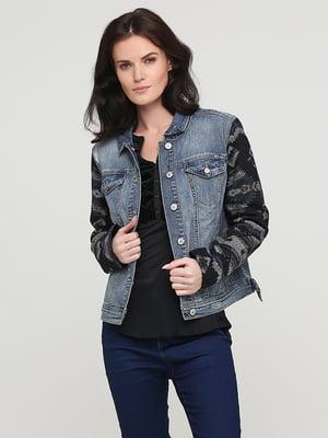 Куртка синяя с декором | 5641665