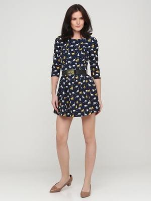 Платье темно-синее в принт | 5641708