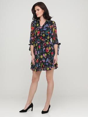 Платье черное в цветочный принт | 5641736