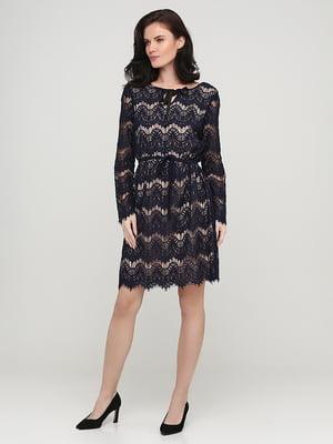 Сукня двоколірна в принт | 5641745