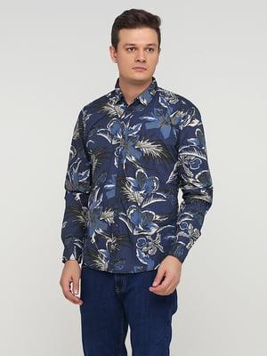 Рубашка синяя в принт | 5641798