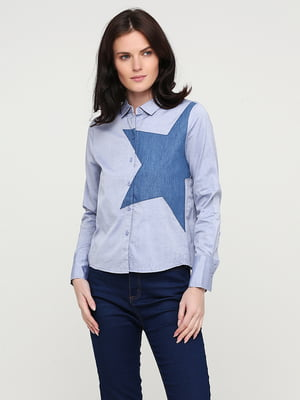 Сорочка блакитна з принтом | 5641801