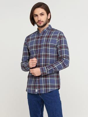 Рубашка синяя в принт | 5641803