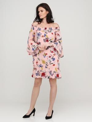 Платье персикового цвета в принт | 5641732