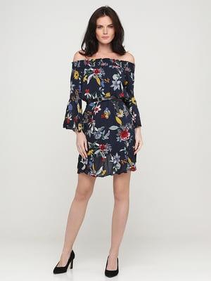 Платье темно-синее в принт | 5641735