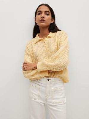 Джемпер-поло лимонного кольору з візерунком | 5646869
