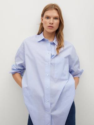 Сорочка блакитного кольору в смужку | 5646903