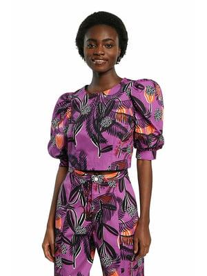 Блуза фіолетова у квітковий принт | 5635968