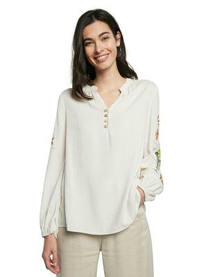 Блуза біла в квітковий принт | 5635973