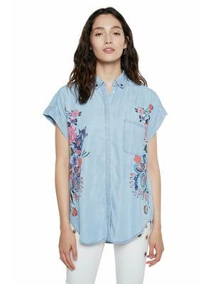 Рубашка голубого цвета в цветочный принт | 5635974