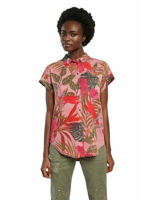 Рубашка цвета пудры в цветочный принт | 5635975