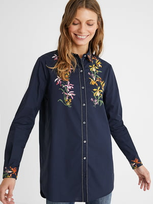 Рубашка синяя в цветочный принт | 5635978