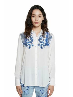 Сорочка біла в принт | 5635980