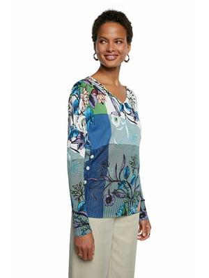 Пуловер комбинированного цвета в цветочный принт | 5635991