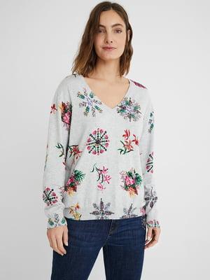 Пуловер серый в цветочный принт | 5635994