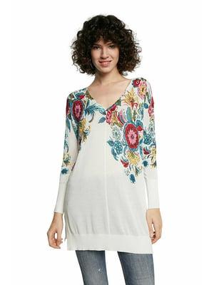 Пуловер-туника белый в цветочный принт | 5635995